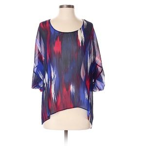 Rory Beca Multi Print Silk Lace Up Back Blouse